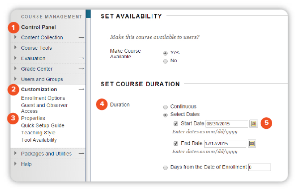 Screenshot of the Blackboard Course Duration Page